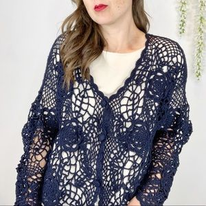 VTG HENRI BENDEL crochet cardigan navy floral